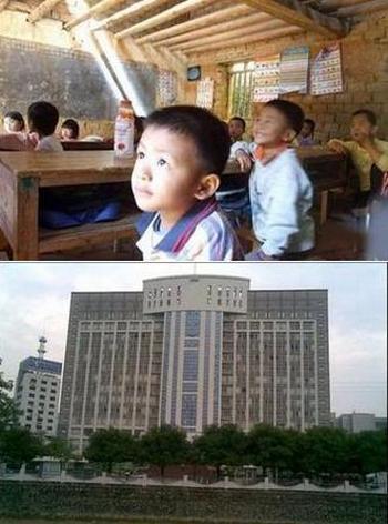 Контрасты Китая. Школа в уезде Цзыцин провинции Гуандун и здание администрации этого уезда