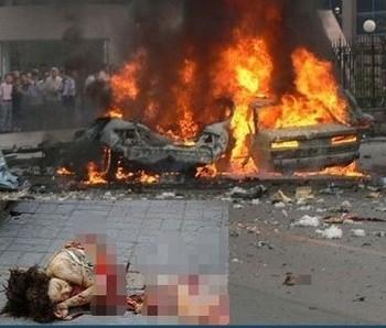 От взрыва тело любовницы бывшего чиновника Дуаня Ихэ разорвало на две части. Провинция Шаньдун. 2007 год. Фото с epochtimes.com