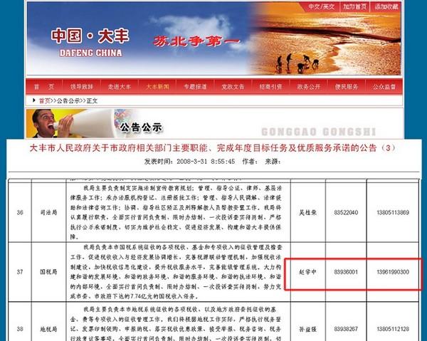 Страница правительственного вебсайта, на которой указан номер телефона Чжао, такой же, как и на визитке