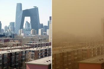 Песчаная буря в Пекине. Слева фото, сделанное 17 марта 2010 год, справа тот же район 22 марта. Фото: AFP