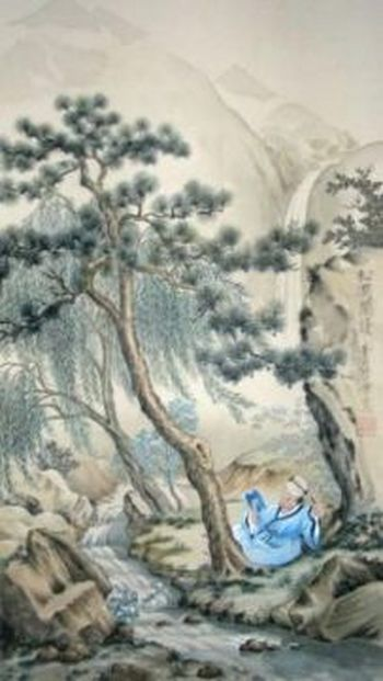 Китайские мудрецы говорили: «Обо всех китайских правителях можно судить по двум качествам: правдивость и добродетель». Пейзаж в китайском стиле, художник Шарлотта Куннерт. Репродукция: Нилс Куннерт