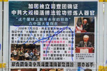Стенд последователей учения Фалуньгун, испорченный группой школьников с красными галстуками из материкового Китая в среду в Гонконге. (Xianglong/Epoch Times)