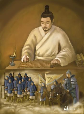 Сунь-Цзы и его книга «Искусство войны». Иллюстрация: SM Yang/Великая Эпоха (The Epoch Times)