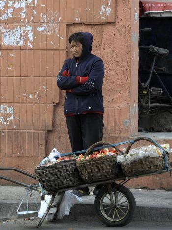 Женщина продает клубнику на улице в Пекине 6 февраля 2009 года. (AFP/Getty Images)