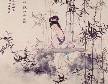 Живопись:Девушка, исполняющая древнюю музыку на гучжэн. Чжан ЦУЙИН