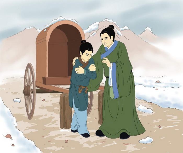 Минь Дэжэнь наставляет своего сына Цзыцяня, который дрожит от холода. Иллюстрация: Чжичин Чэнь/Великая Эпоха