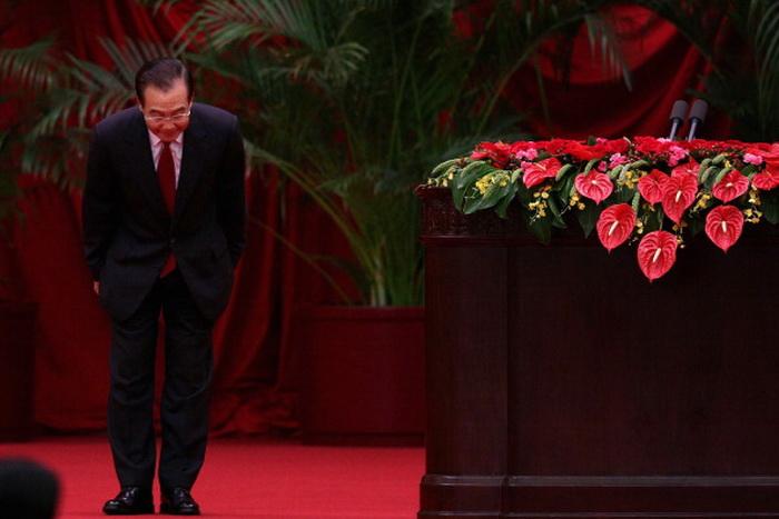 Премьер-министр Китая Вэнь Цзябао перед выступлением на банкете по случаю 63-й годовщины со дня основания Народной Республики Китай 29 сентября 2012 года в Большом зале народных собраний в Пекине, Китай. Фото: Feng Li/Getty Images
