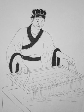 Цай Лунь, изобретатель бумаги. Иллюстрация: Джейд/Великая Эпоха (The Epoch Times)