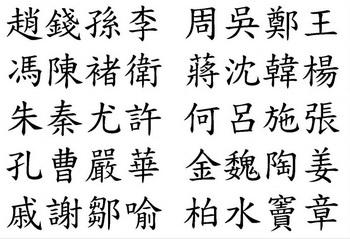 Первые 40 фамилий в «Фамилиях 100 семей» — списке распространённых фамилий в древнем Китае. Фото с сайта theepochtimes.com