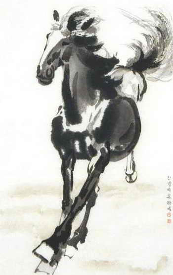 Скачущий конь в традиционной китайской живописи, художник Сюй Бэйхун (1895–1953). Фото: Public domain image