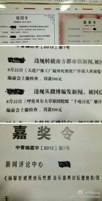 Информация о поощрении и наказании была помещена на стене возле входа в редакцию газеты China Youth Daily. Отдел, отвечающий за пропаганду, дал очень ясно понять, что нужно писать, а что не нужно. Фото: Xiaoran 520/Weibo.com