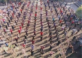Место групповой практики в Пекине, храм Цзитай, 1996 год. (Источник Minghui.net)