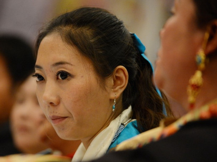 Так называемый делегат от Тибета на пресс-конференции в Большом народном зале, Пекин, 9 ноября. Фото: Mark Ralston/AFP/Getty Images