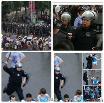 Жители Шифана сделали фотографии бесчинств спецназа, которые пользователи сети широко распространили в Интернете. Фото: Weibo.com