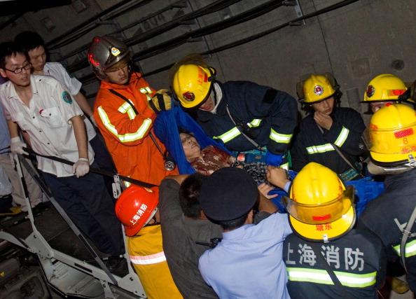 Столкновение поездов в шанхайском метро. Сентябрь 2011 год.Фото: STR / AFP / Getty Images
