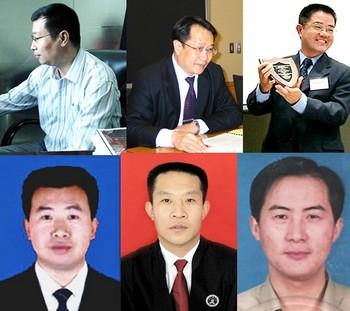 Китайские адвокаты, которые не боятся мести правящего режима, защищая последователей Фалуньгун в суде. Слева направо: Ли Субин, Мо Шаобин, Го годин, Цзян Тяньюн, Хань Чжикуан, Ли Хэбин. Фото с epochtimes.com
