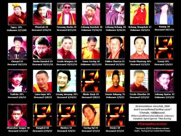 Фотографии 26 тибетцев, совершивших самосожжения в знак протеста против репрессивной политики компартии в их регионе. Фото с savetibet.ru