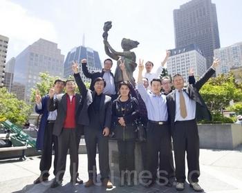 Активисты демократического восстания студентов. Чайнатаун в Сан-Франциско. Фото: The Epoch Times
