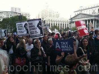 По меньшей мере, 50 организаций присоединилось к акции протеста «Захвати Уолл-стрит» в Нью-Йорке. 5 октября 2011 год. Фото: The Epoch Times