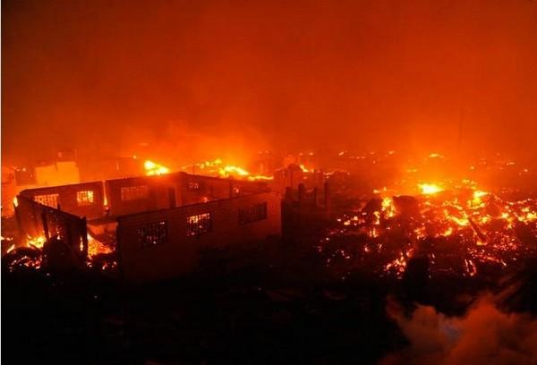 Пожар в деревне Синьфэн провинции Хубэй. Февраль 2012 год. Фото с epochtimes.com