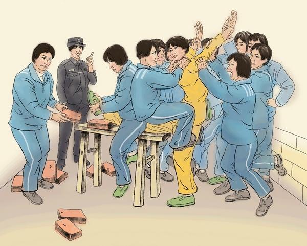 Иллюстрация пытки, описанной сторонницей Фалуньгун