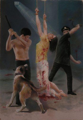 Картина изображающая пытки, которым коммунистический режим КНР подвергает сторонников Фалуньгун