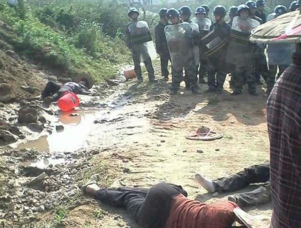 Полиция избила крестьян, защищавших свою землю. Провинция Фуцзянь. Апрель 2013 год. Фото с epochtimes.com