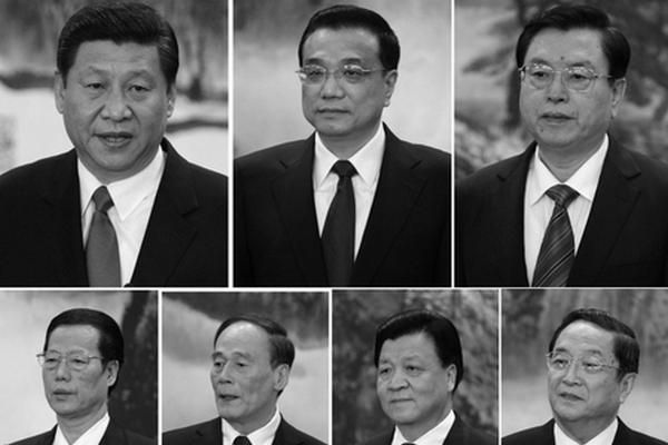 Новые члены постоянного комитета политбюро ЦК КПК (слева направо, сверху вниз): Си Цзиньпин, Ли Кэцян, Чжан Дэцзян, Чжан Гаоли, Ван Цишань, Лю Юньшань, Юй Чжэншэн. Фото: Mark RALSTON/AFP