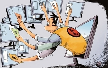 Карикатура на партийных интернет-пропагандистов КНР. Источник: китайская блогосфера