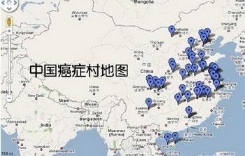 Составленная независимыми китайскими экологами карта раковых деревень в Китае