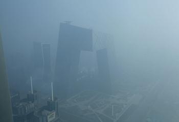 Пекин снова под пеленой ядовитого смога. Февраль 2013 года. Фото с epochtimes.com