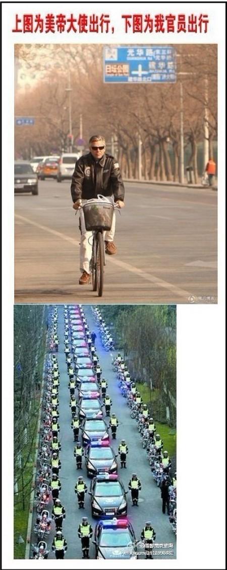 На верхнем фото — передвижение посла США. На нижнем фото — передвижение наших [китайских] чиновников