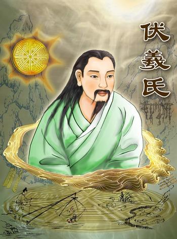 Божественное существо Фу Си во времена, когда человеческие существа сосуществовали с богами. Иллюстрация: Катерины Чан/Великая Эпоха (The Epoch Times)