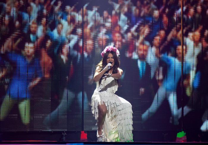 «Евровидение-2012». Фоторепортаж о выступлении финалистов конкурса. Gaitana. Фото: Pablo Blazquez Dominguez/Getty Images