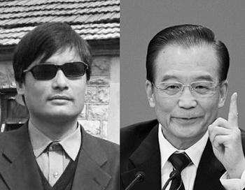 Слепой китайский адвокат Чэнь Гуанчэн (слева) и премьер-министр КНР Вэнь Цзябао (справа). Аналитики считают, что побег Чэня – это возможность для смещения Чжоу Юнкана. Фото:  Feng Li/Getty Images