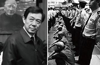 Бо Силай (слева) на гражданской панихиде своего отца, Бо Ибо (на заднем плане). Cцена «удар по черным» в Чунцине (справа), за каждым преступником закреплен один полицейский. Фото: The Epoch Times
