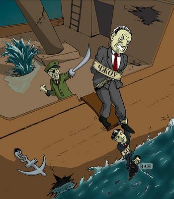 Политическая карьера Чжоу Юнкана, Бо Силая и Ван Лицзюня на грани краха. Иллюстрация: The Epoch Times