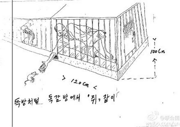 Пытки, которые применяют к заключённым в северокорейских исправительных лагерях и тюрьмах. Рисунки предоставлены комиссии ООН беженцами из КНДР