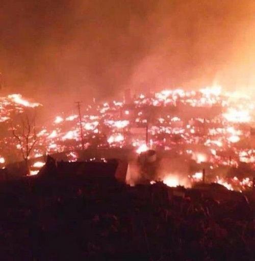 Пожар в древнем посёлке Баоцзинь. Январь 2014 год. Фото с epochtimes.com