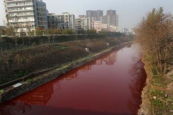 В Китае продолжает ухудшаться экология. Вода в реке Цзяньхэ в провинции Хэнань покраснела от выбросов местных заводов. Фото: AFP/Getty Images
