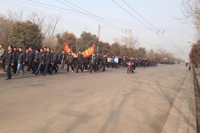 Акция протеста шахтёров. Провинция Шаньдун. Февраль 2014 года. Фото с epochtimes.com
