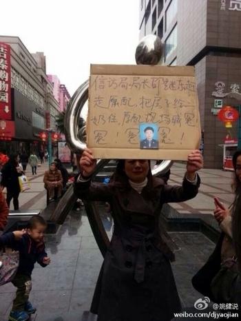 Брошенная ради любовницы жена чиновника Шао протестует на улице. Ноябрь 2013 года. Фото с epochtimes.com