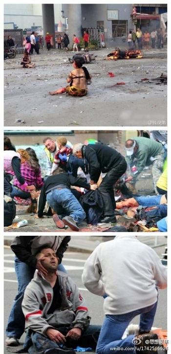 Фотографии, побудившие китайцев задуматься о своём безразличии к чужому горю. Первая фото сверху сделана после взрыва в Китае. Две нижние фото сделаны после взрыва в США. Фото с weibo.com