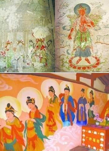 На фото сверху изначальные древние изображения на стене храма Юньцзе. Снизу рисунок после «реставрации». Фото с epochtimes.com