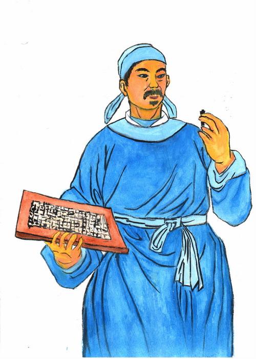 Би Шэн — изобретатель подвижного шрифта для печатания. Иллюстрация: Kiyoka Chu/Великая Эпоха (The Epoch Times)