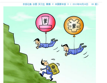 Комикс иллюстрирует влияние связей в китайском обществе. Один человек тащит рюкзак с надписью «Фэн Доу» («Какой смысл бороться»), а в это время два конкурента обходят его, используя воздушные шары с надписью «дэй» («папа»). Опрос от 16 августа 2013 года показал, что большинство молодых китайцев предпочитают иметь богатого папу, чем упорно трудиться. Фото: China Youth Daily