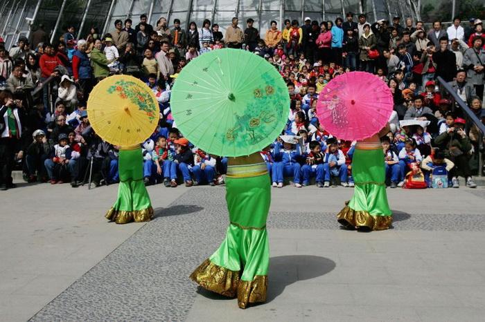 Пекин, Китай. Артисты из этнического меньшинства, известного под названием «дай», танцуют для туристов во время праздничной церемонии на Водном фестивале во время празднования Нового года племени дай в пекинском ботаническом саду 13 апреля 2006 г. Фестиваль — самый важный праздник для народа дай в Сишуаньбанна и других местах. Проводимый во время шестого месяца по календарю племени дай, фестиваль обычно приходится на середину апреля. Фото: China Photos/Getty Images