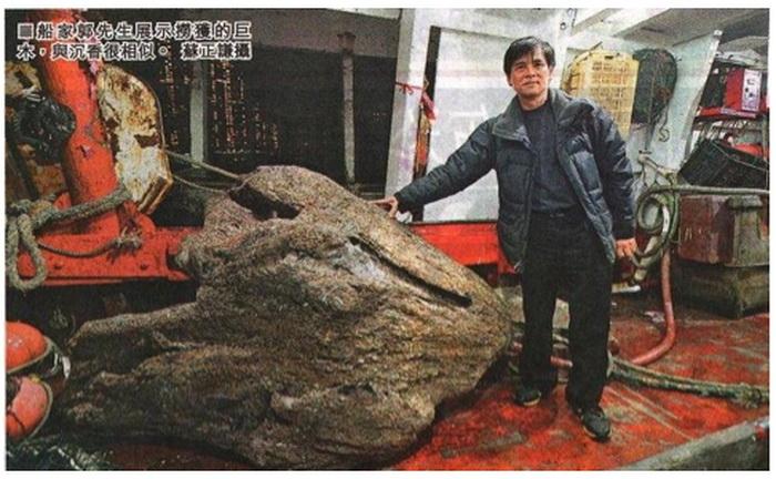 Гигантский кусок орлиного дерева, выловленный гонконгским рыбаком. Фото: Screenshot/ifeng.com