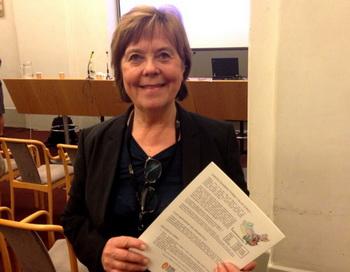 Член парламента Мария Лундквист-Бромстер выразила своё возмущение тем, что убийство узников совести в Китае с целью извлечения органов продолжается так долго. Фото: Pirjo Svensson/TheEpoch Times