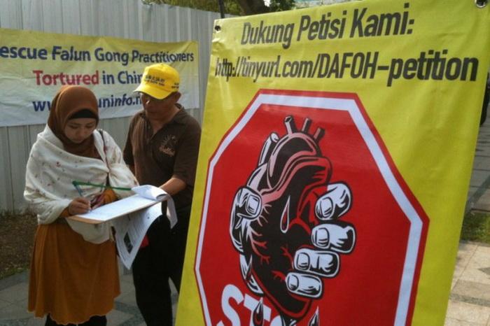 Последователь Фалуньгун знакомит прохожих с петицией, призывающей Китай прекратить извлечение органов у узников совести, перед китайским посольством в Джакарте 1 ноября 2012 года. Фото: Doctors Against Forced Organ Harvesting